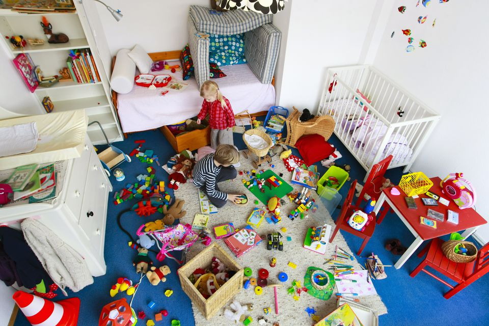 Children's messy nursery room