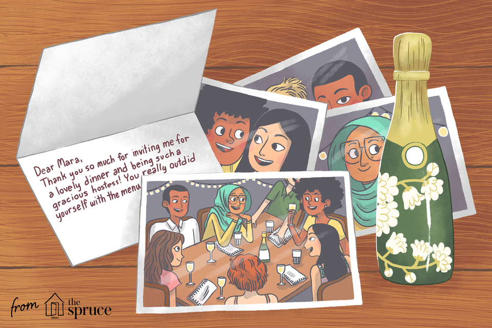 Illustration of dinner party pictures and thank you card