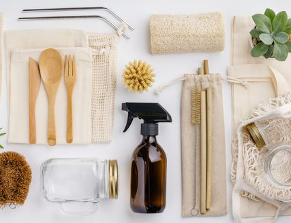 A collection of green cleaning products