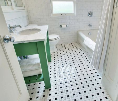 Small Bathroom With Vintage Black And White Tile Floor