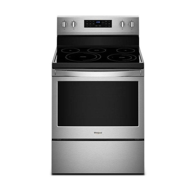The Whirlpool WFE550S0HZ 5.3 cu. ft. Electric Range has a self-cleaning convection oven and comes in stainless steel.
