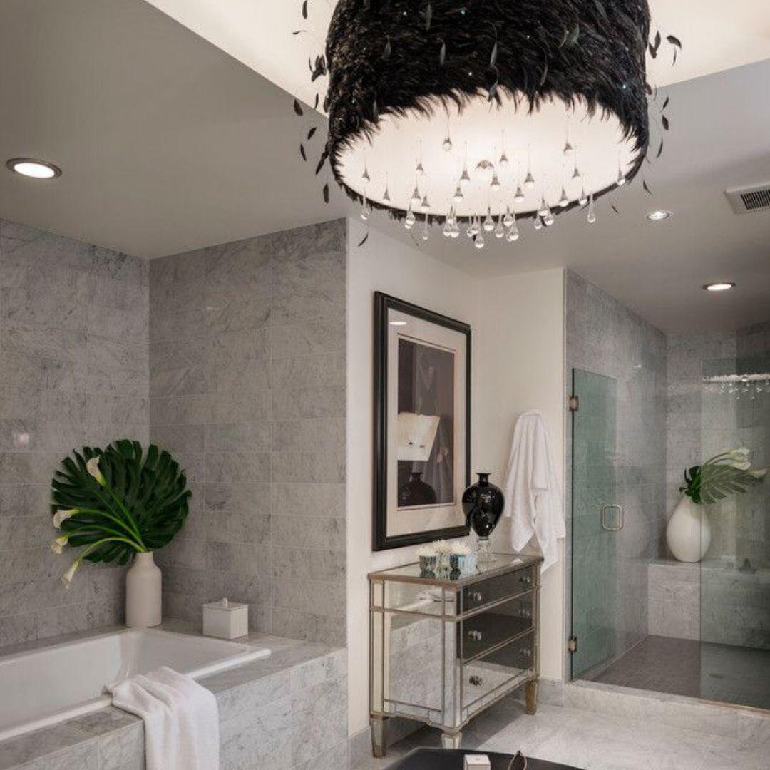 Modern Dream Bathroom With Unique Light Fixture