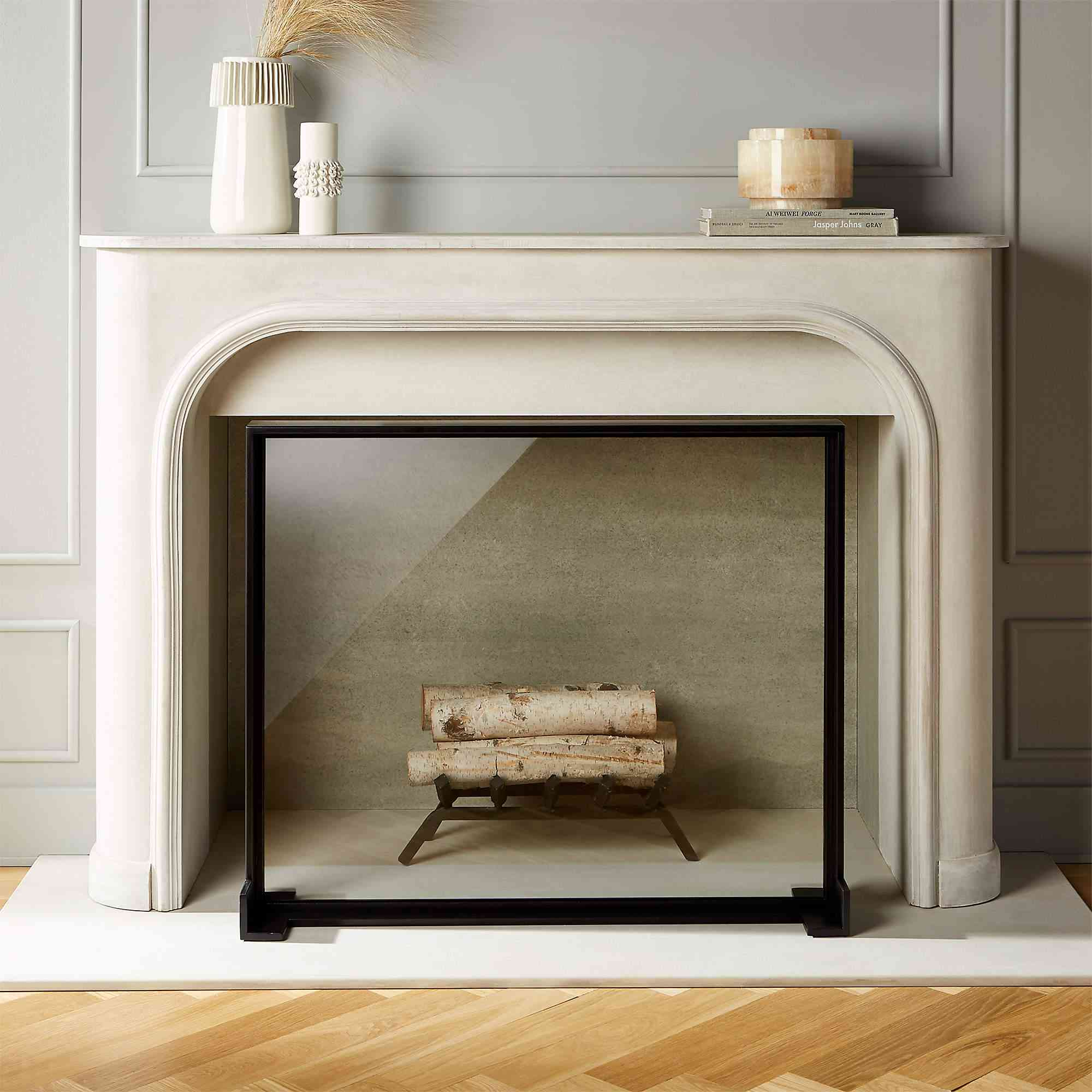CB2 Ledge Glass Fireplace Screen