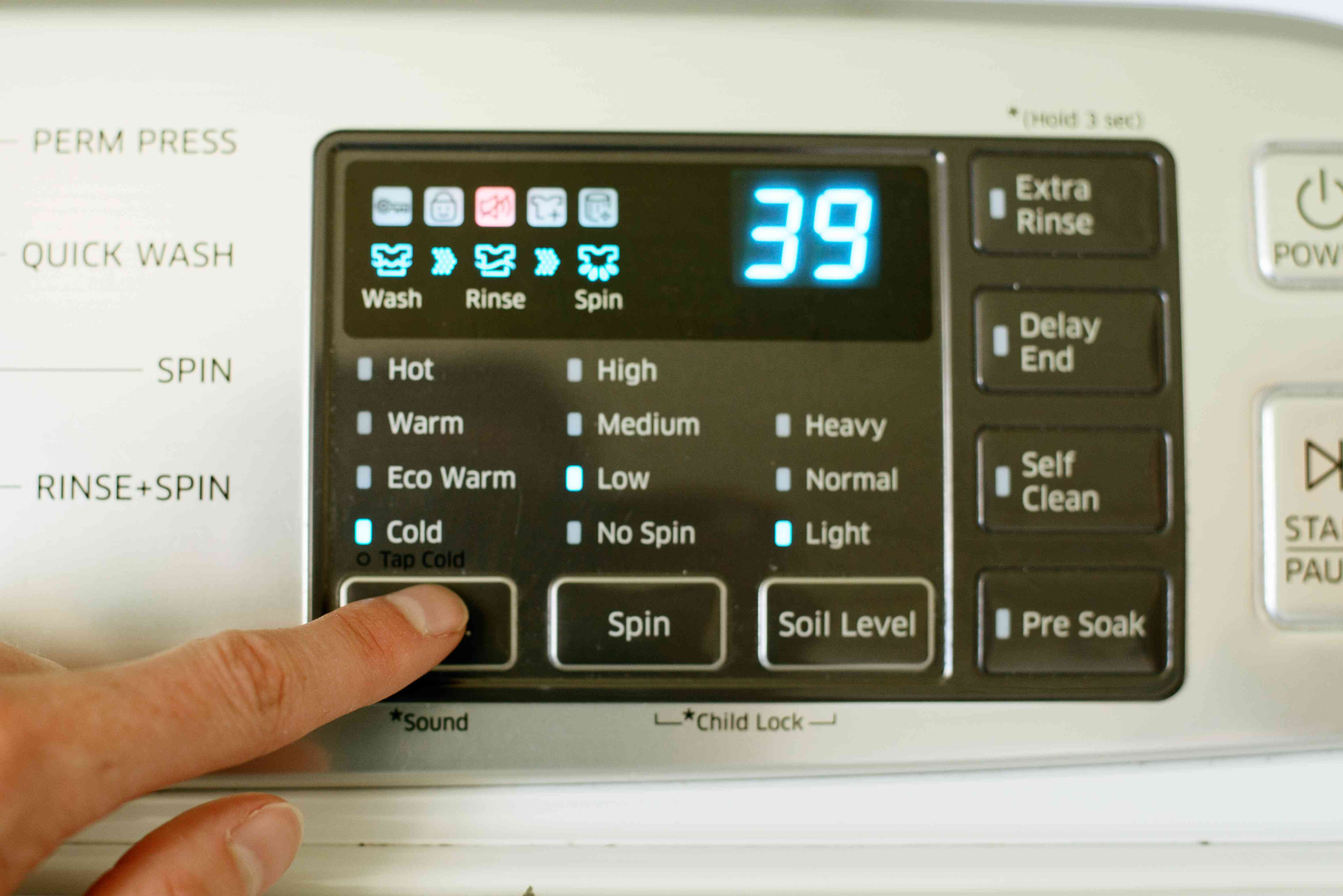 Washer machine set to gentle cycle with cold water