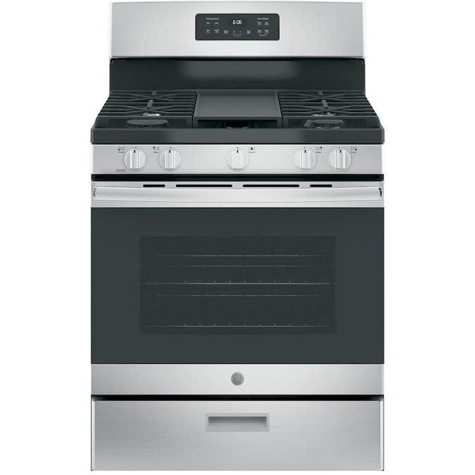 The GE JGBS66REKSS 30 in. Freestanding Gas Range has five burners and a non-stick griddle.
