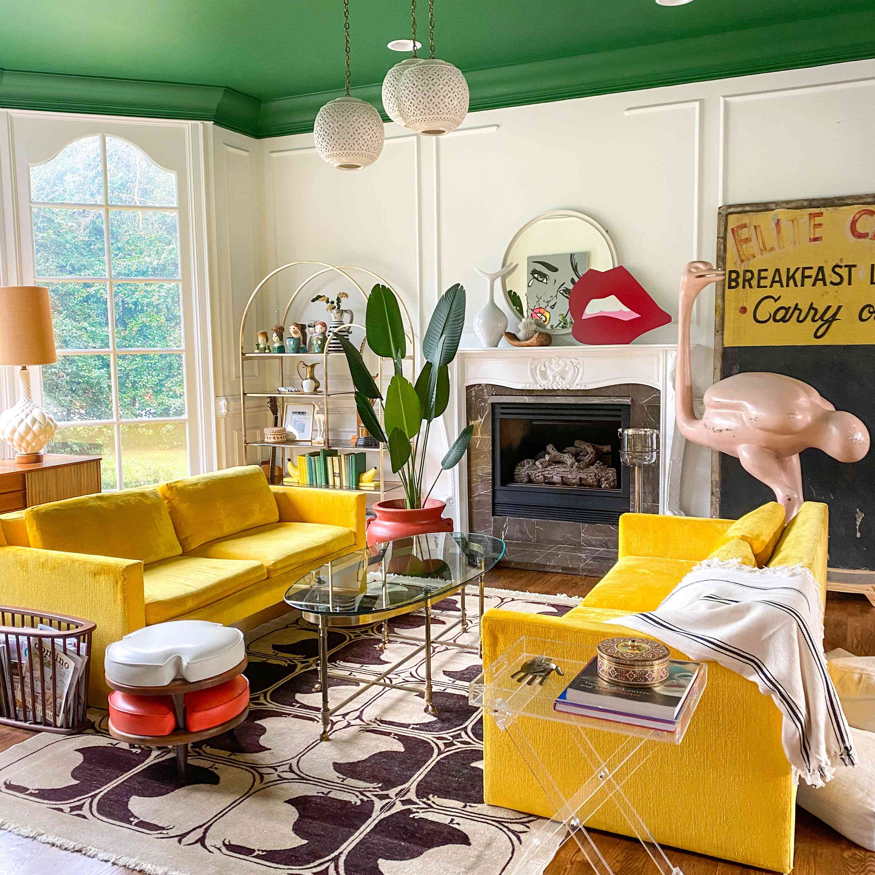 Natalie Papier's living room features lots of animal themes, including the huge pink ostrich