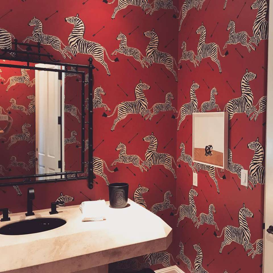 Bathroom with red wallpaper