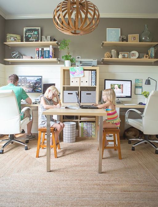 Family office with kids' homework station