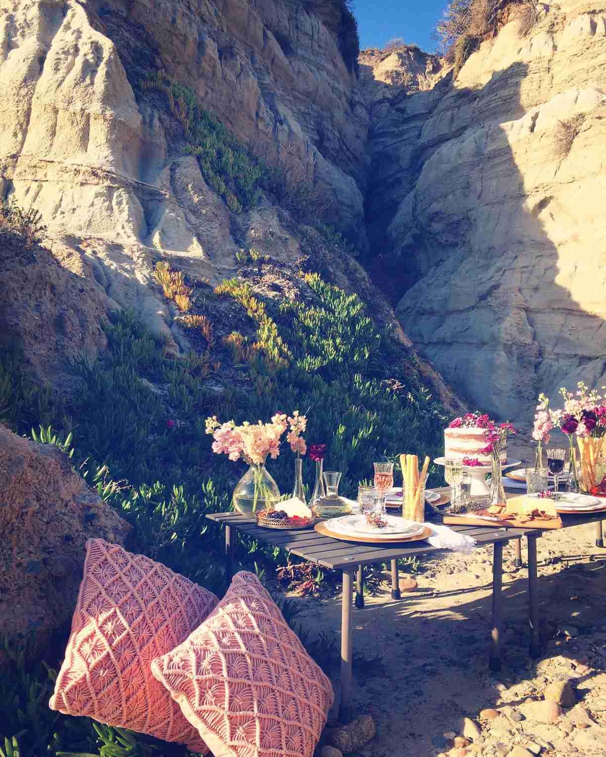 Elaborate picnic in rocky terrain