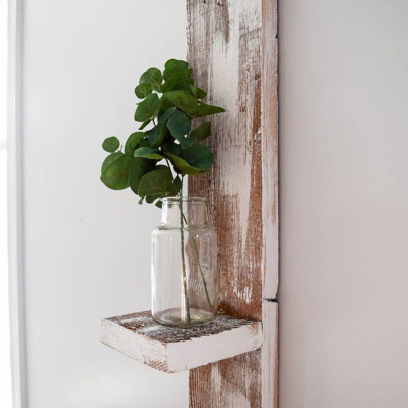 Estante de exhibición pequeño de bricolaje de madera reciclada