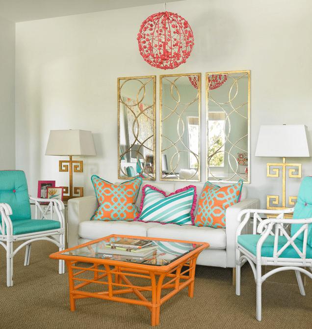 Sala de estar hecha en colores tropicales