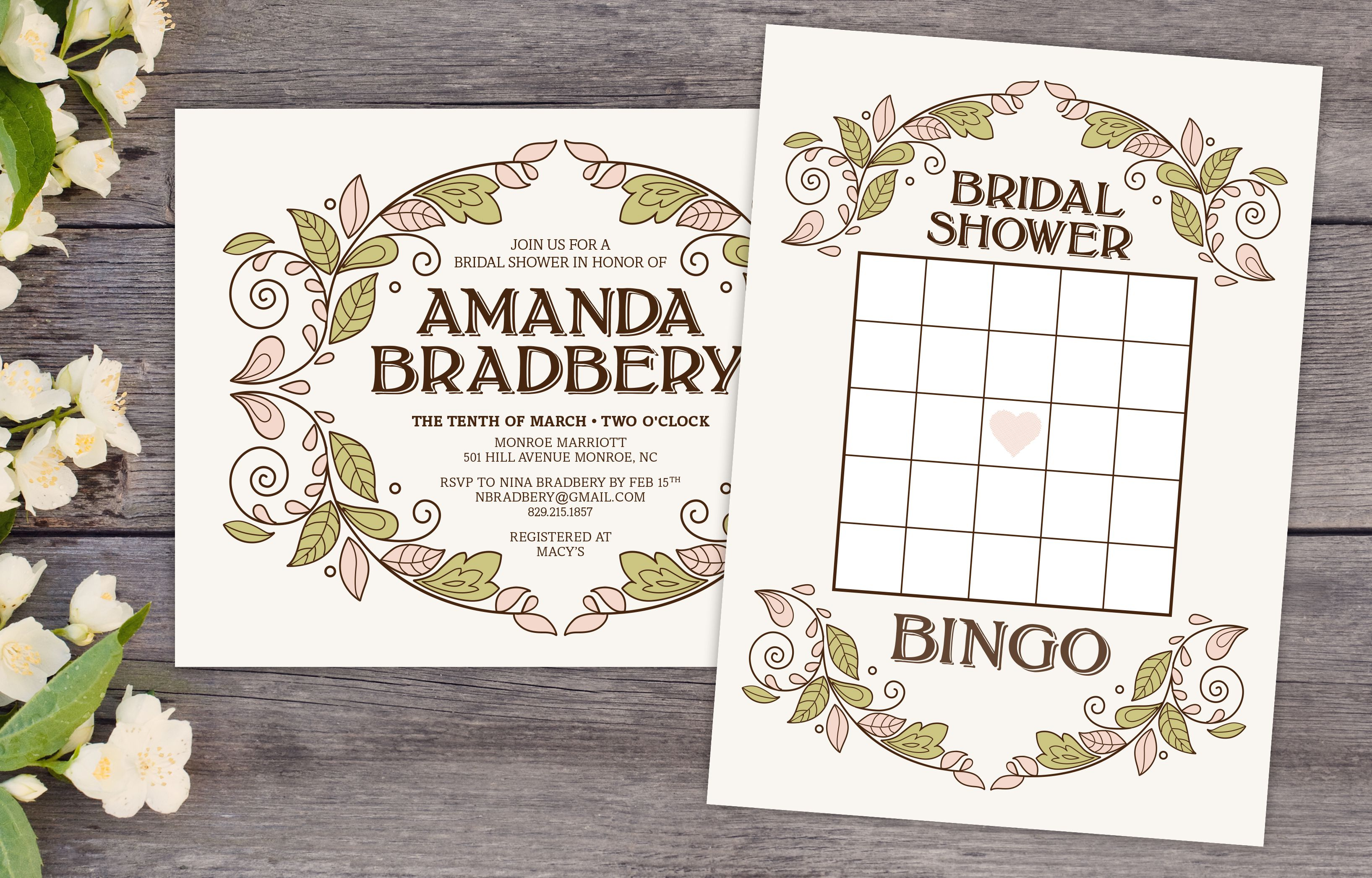 bc627944e255 A bridal shower bingo card and bridal shower invitation on a wooden table  surrounded by flowers