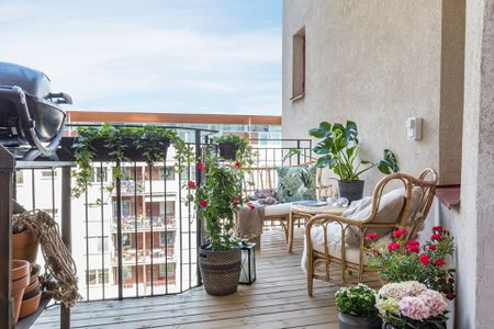 Plants And Rattan Furniture On Balcony