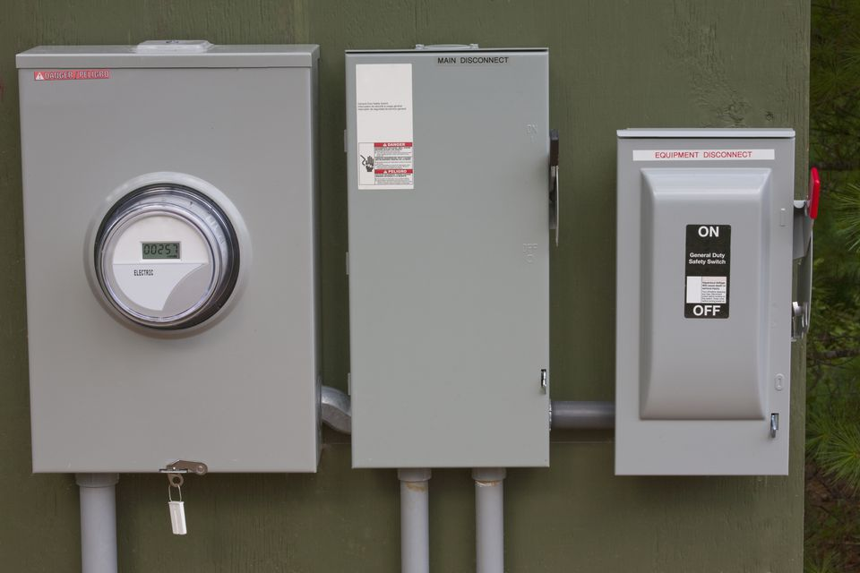 Close-up of an electrical service panel
