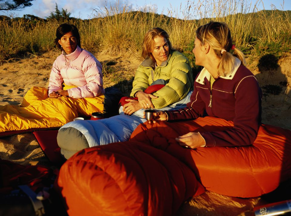 Group of girls in sleeping bags, camping