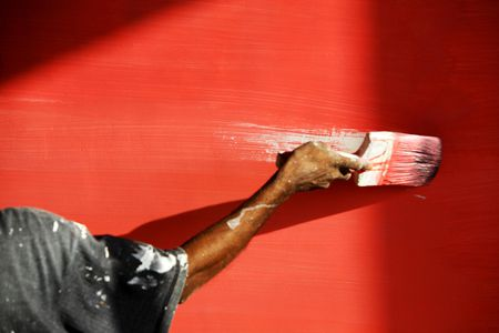 Man S Hand Painting Wall Red