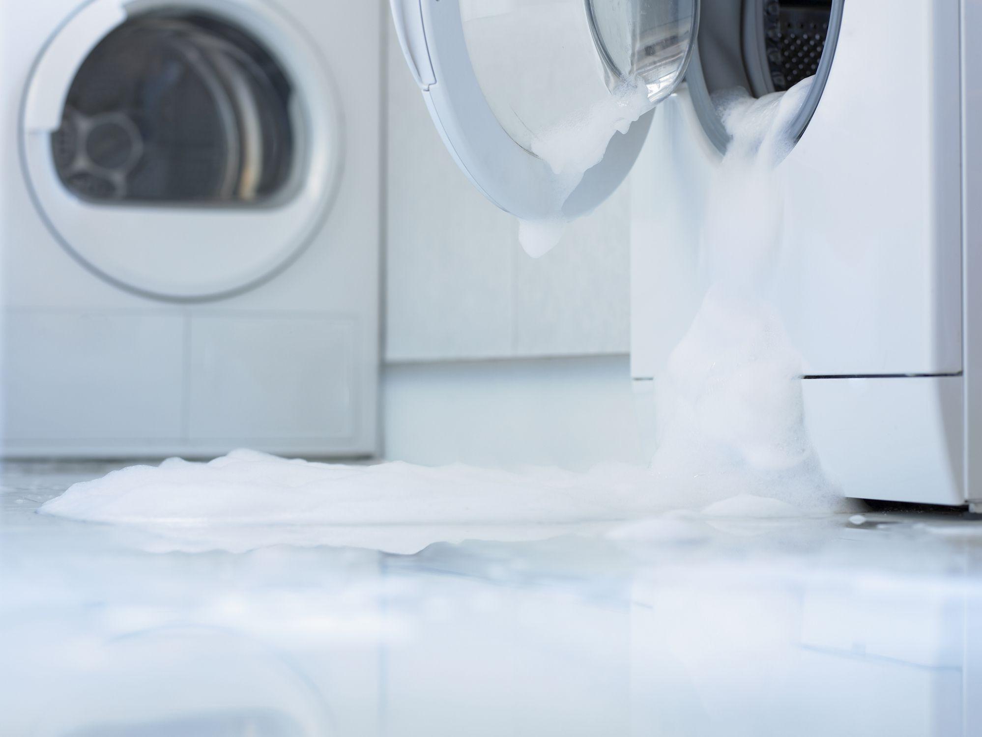 a washing machine overflowing