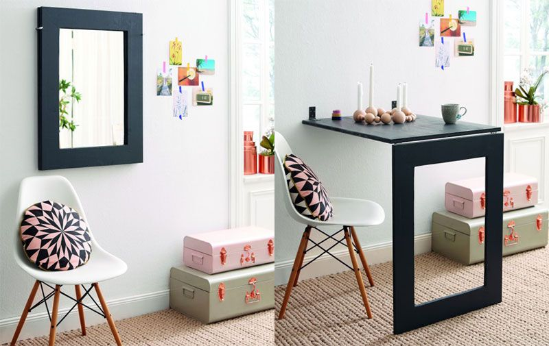 Side-by-side images of furniture folded up as a mirror or down as a table