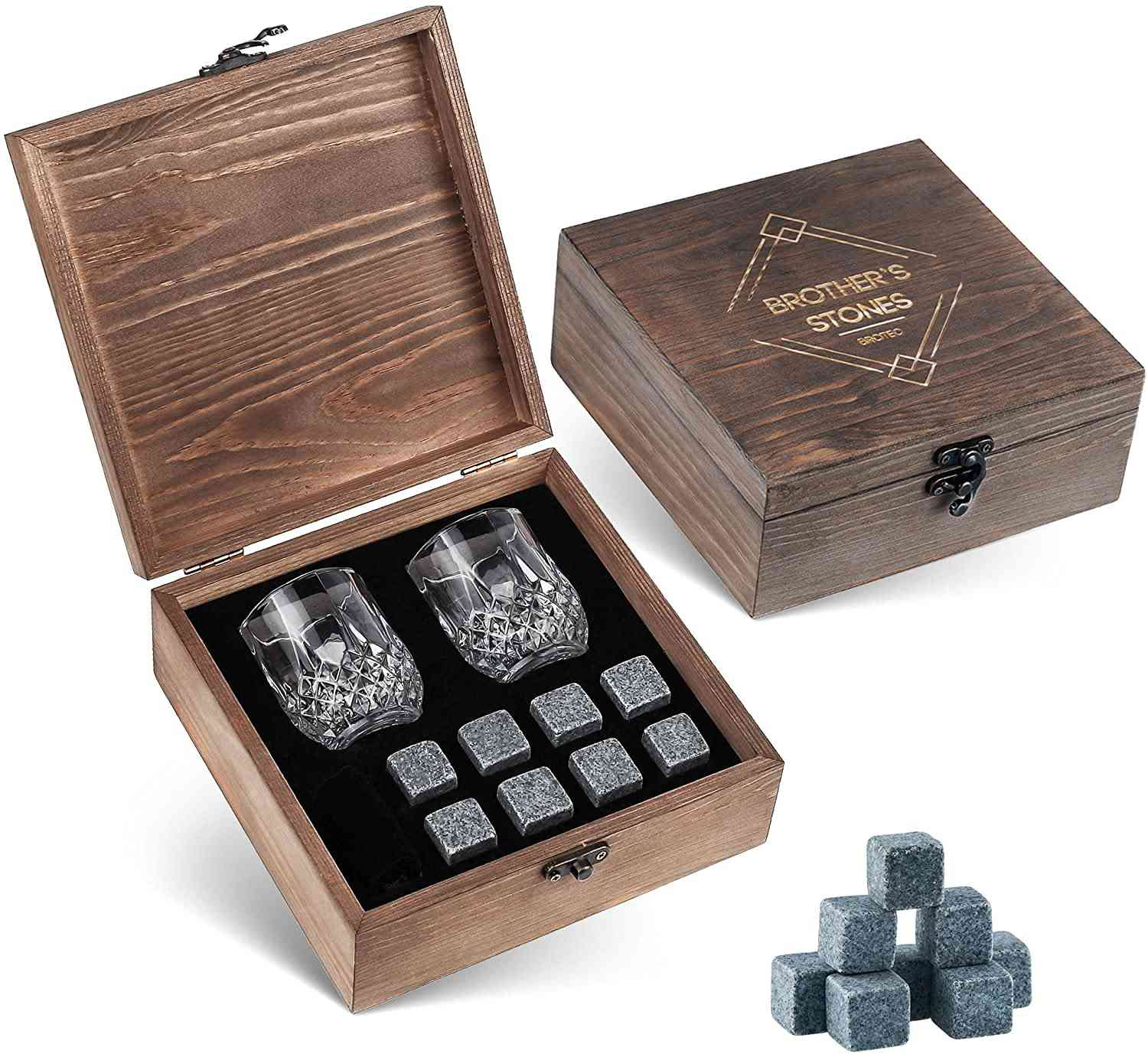 BROTEC Whiskey Stones and Glass Set