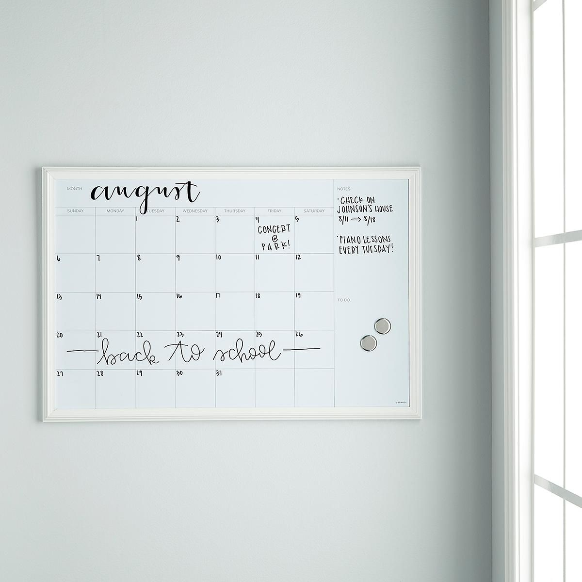 U-Brands White Large Farmhouse Monthly Dry Erase Board