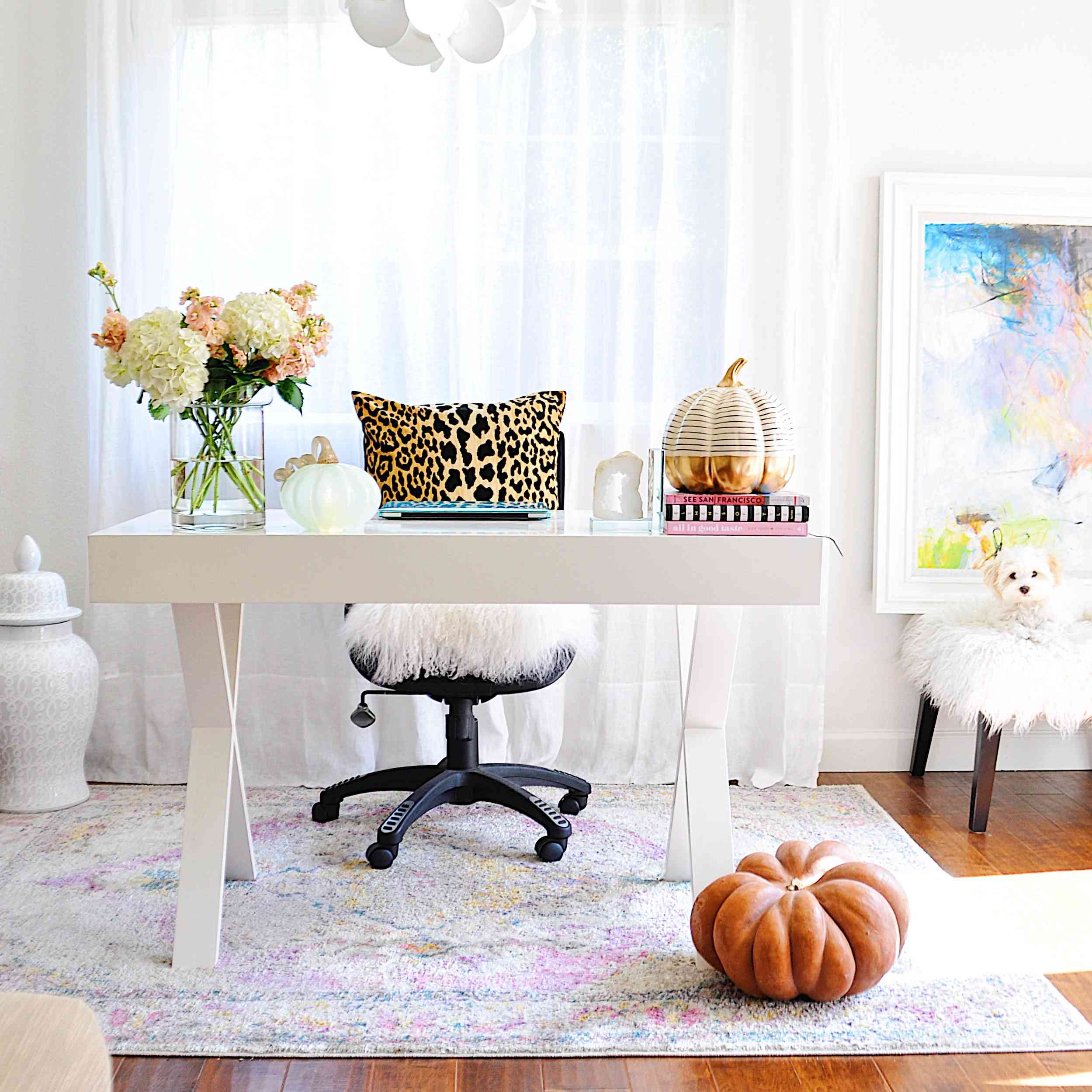 Home office decorated for Thanksgiving.