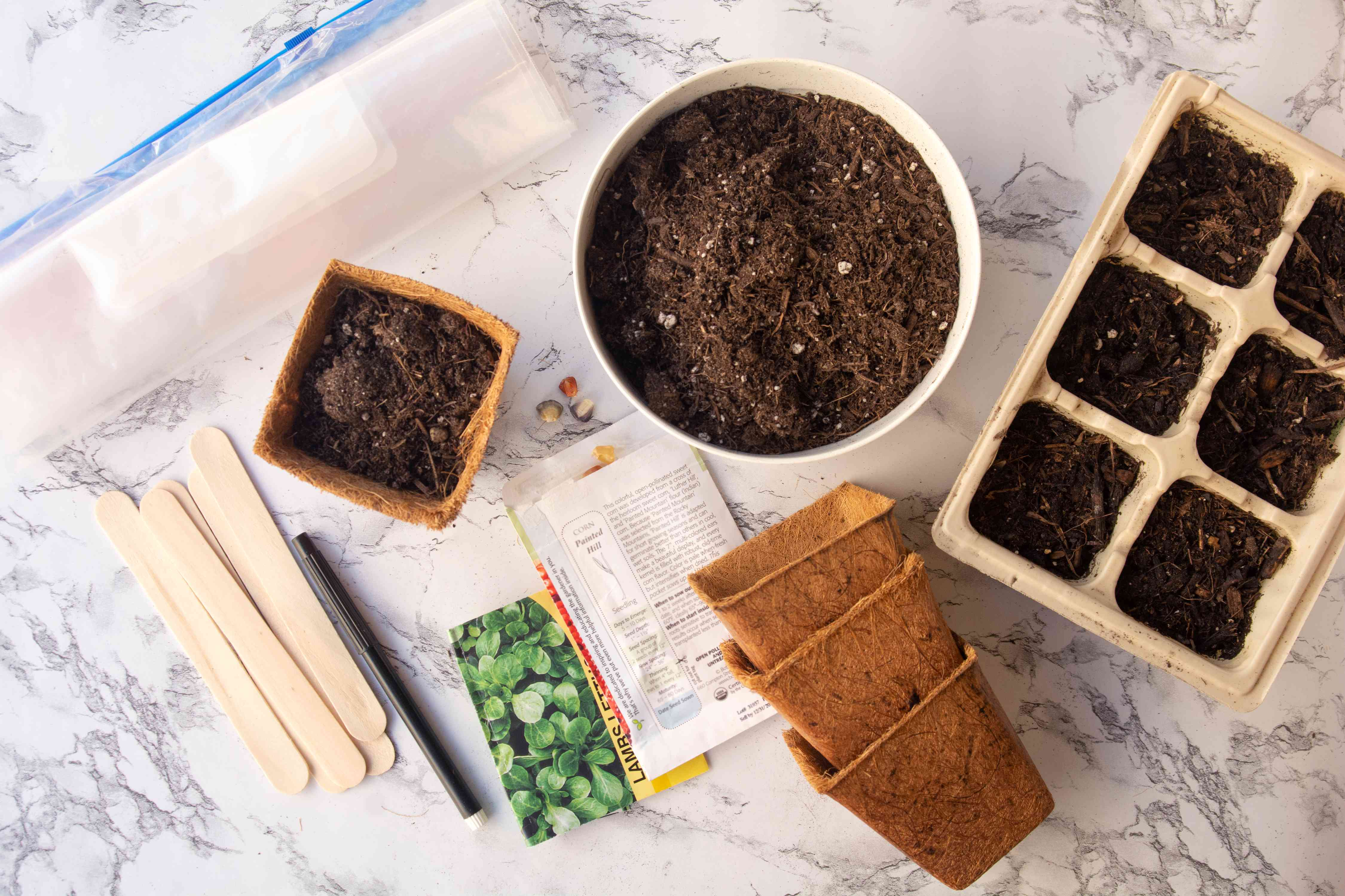 Materials and tools to start seed indoors on marbled surface