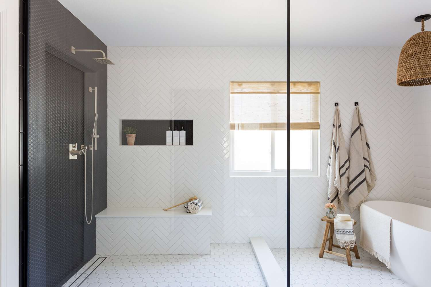 Shower with a built-in shelf