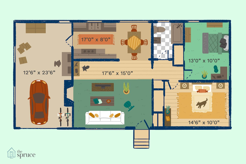 small house plan illustration