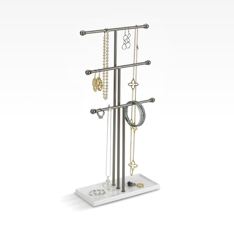 Umbra Trigem Three-Tier Extra-Tall Jewelry Stand, White/Nickel