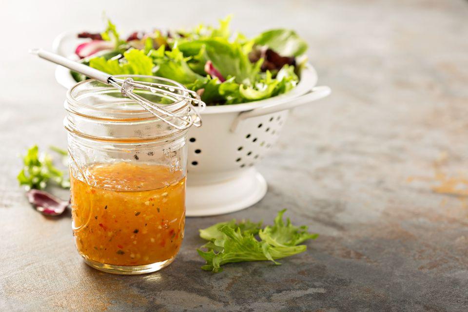 Italian vinaigrette dressing in a mason jar