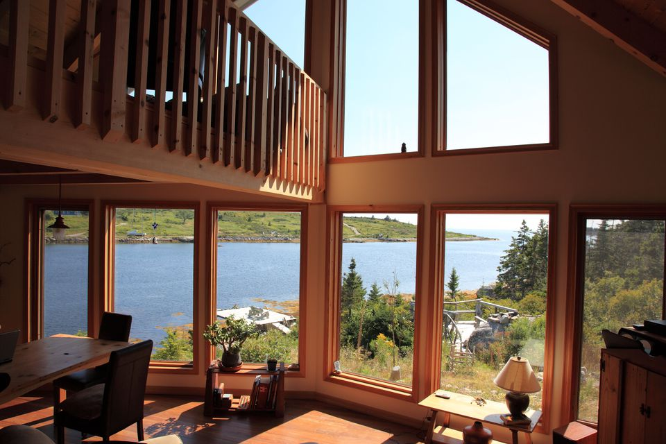 Wood Windows In House with Vaulted Ceiling