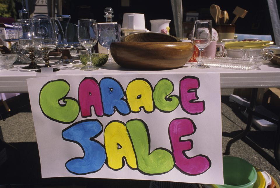 Merchandise at a garage sale