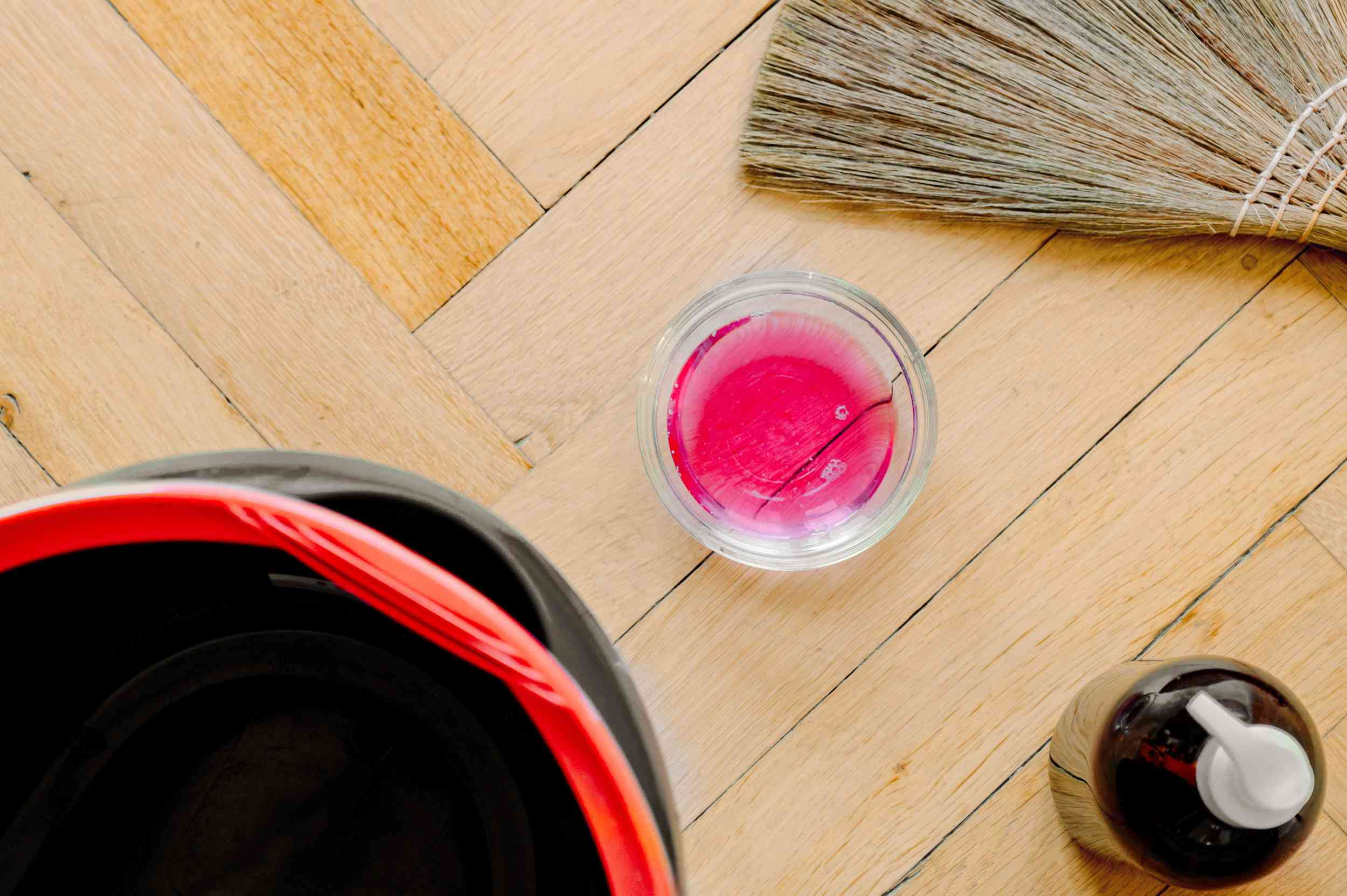 Materials and tools to clean a broom