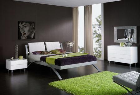 Contemporary Bedroom With Dark Brown Walls