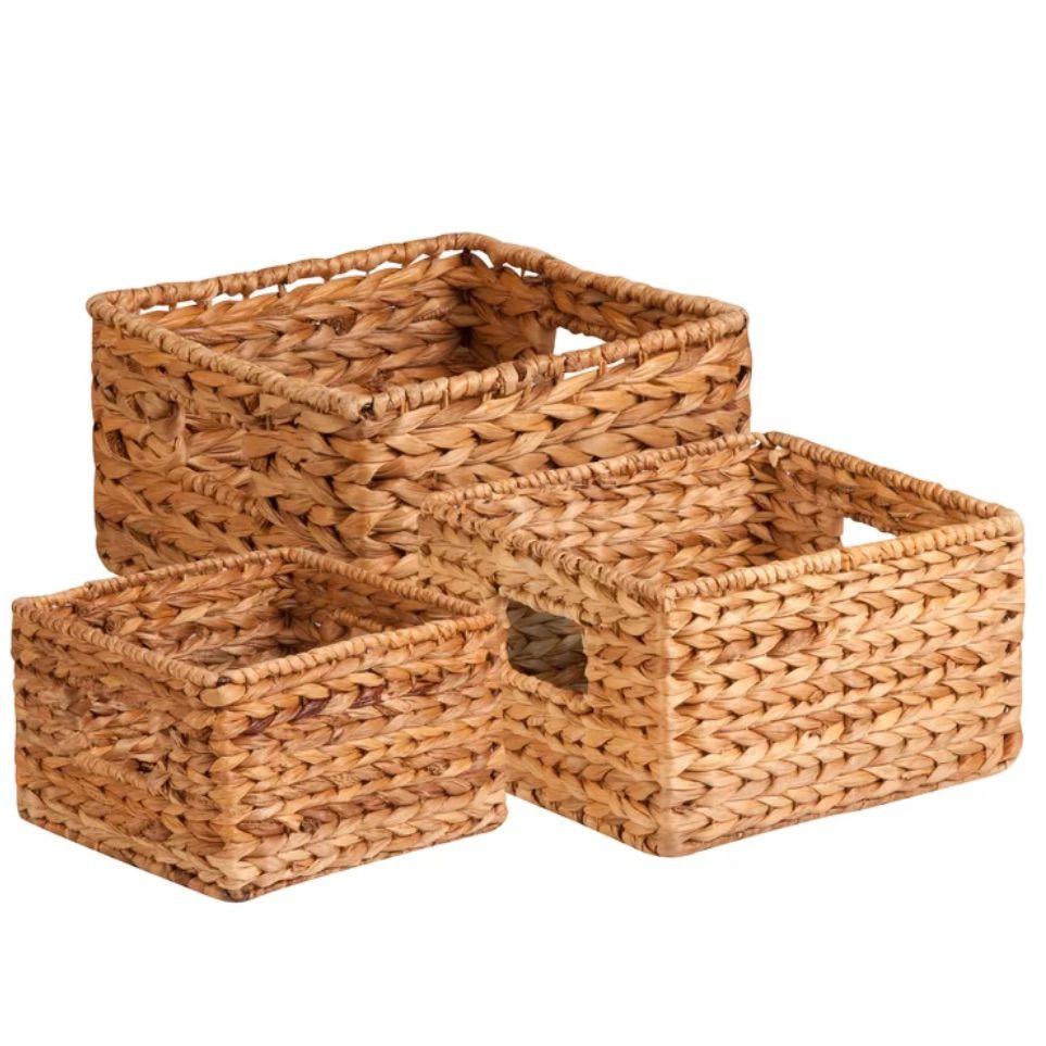 Brown Charlette 3 Piece Wicker/Rattan Basket Set
