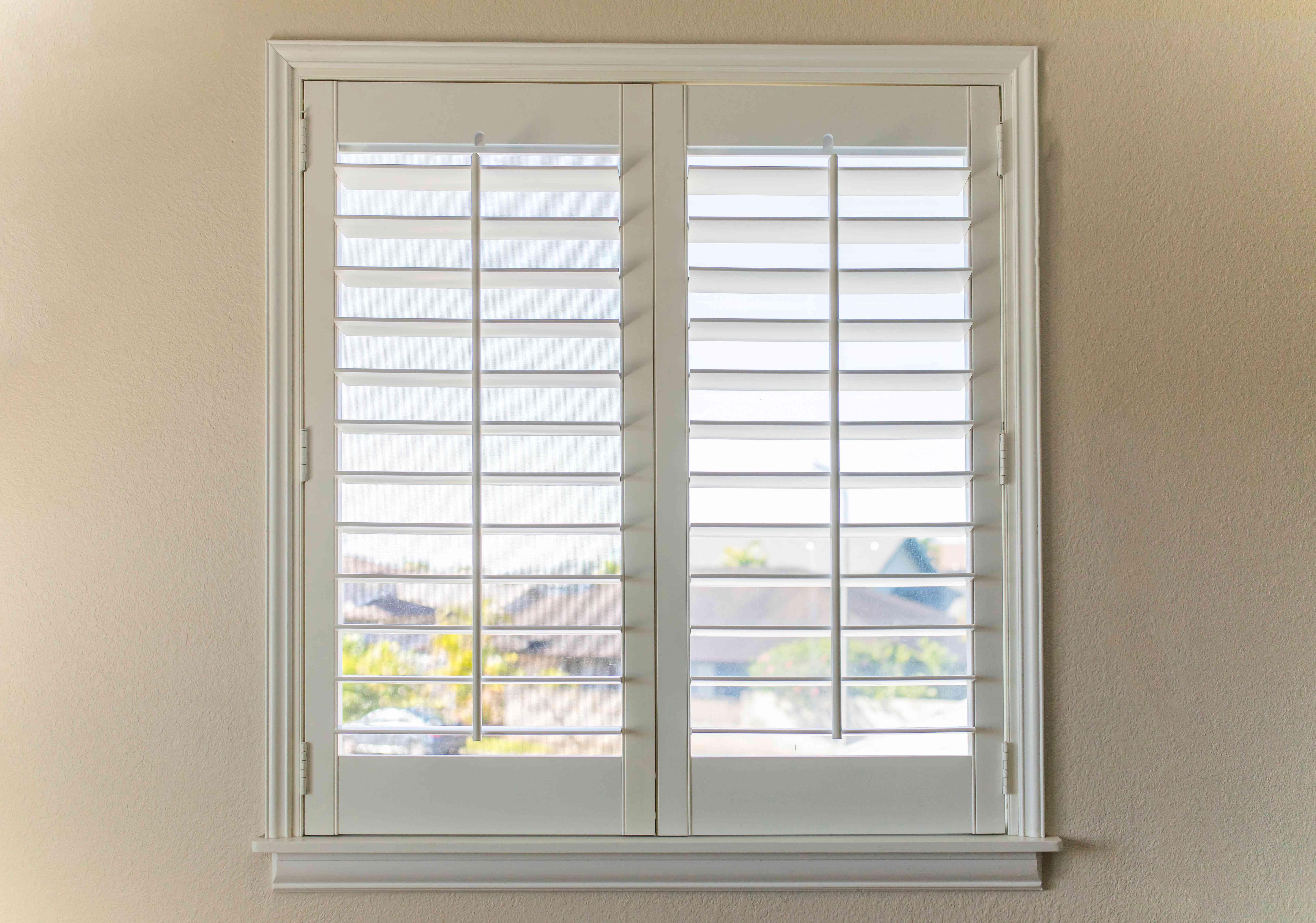 wooden shutters on a window
