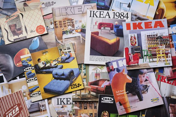 collage of IKEA catalogs