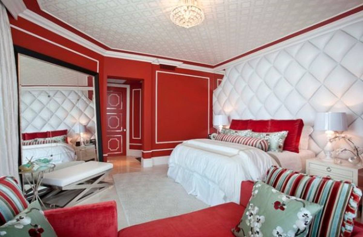Red and white Hollywood regency bedroom