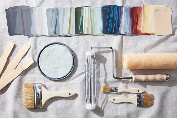 Paint supplies and swatch colors