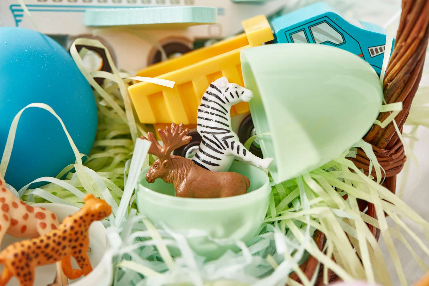 Easter basket with games and toys