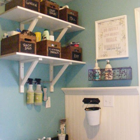 How to use wooden crates in the laundry room