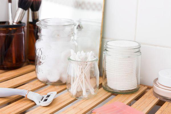 toiletries in glass jars