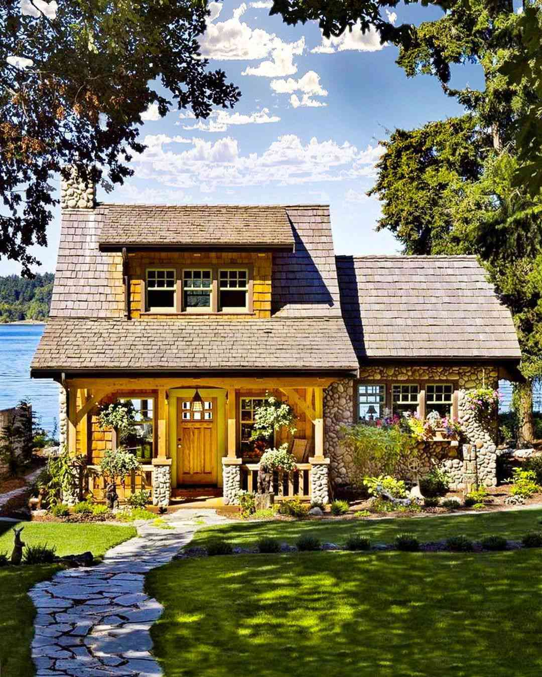 A lakeside arts and crafts style home