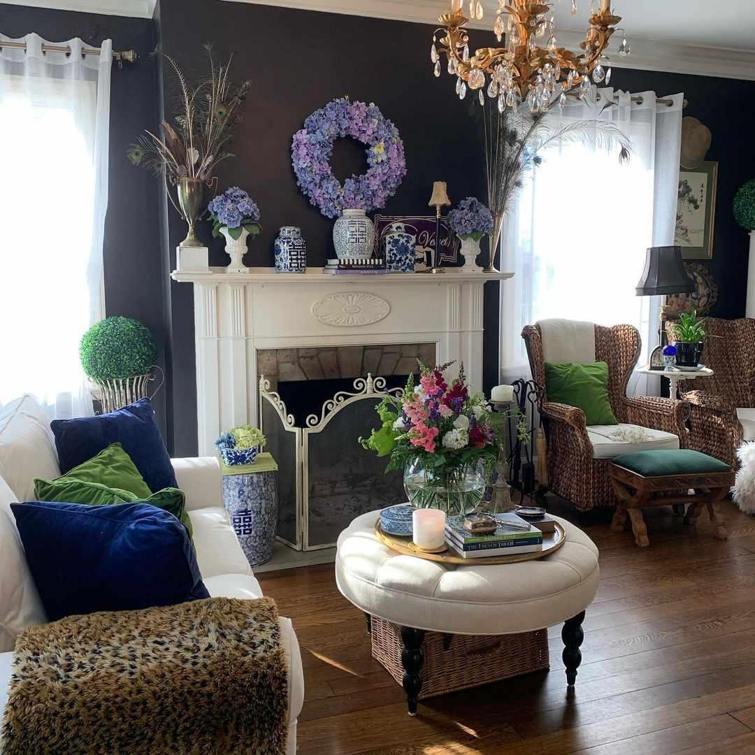 traditional living room black walls