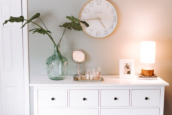 a white organized dresser