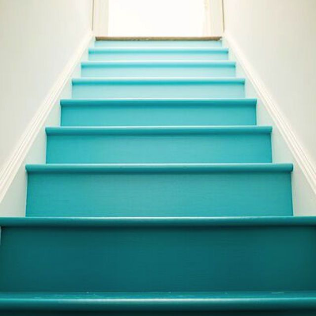 blue ombre stairs