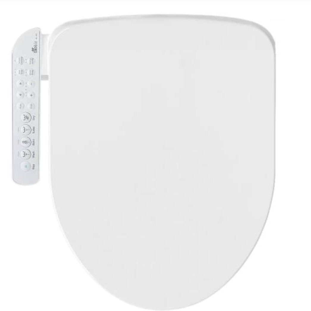 Electric Bidet Seat for Elongated Toilets in White with Fusion Heating Technology