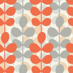 Orange And Grey Retro Modern Leaf Stripe Wallpaper