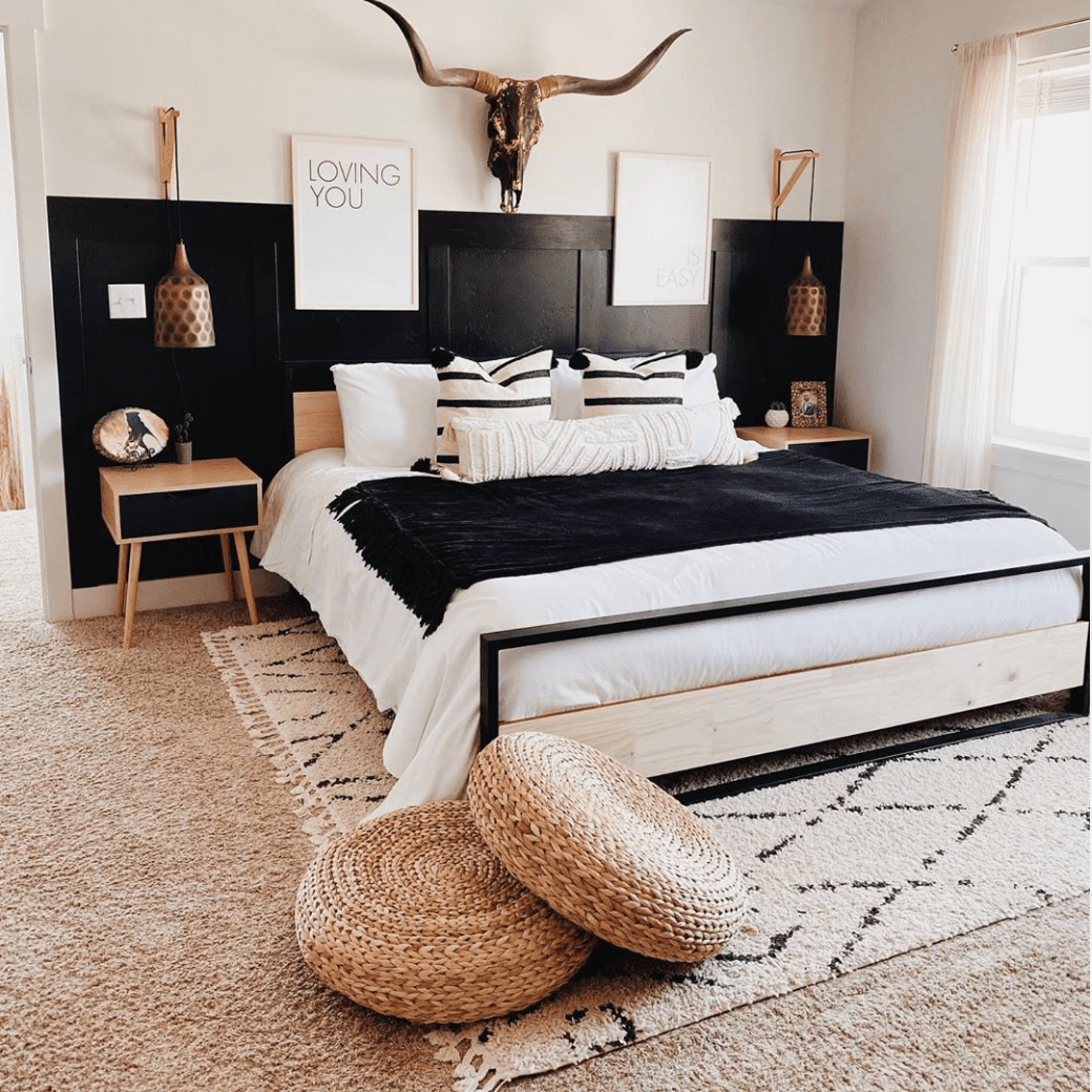 A southwestern style master bedroom.