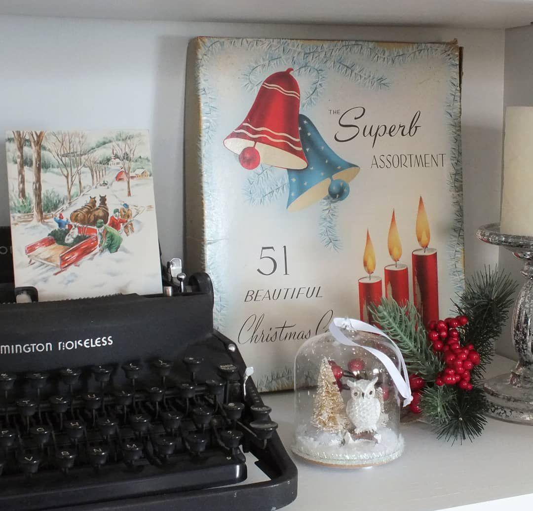 Typewriter with Christmas decor